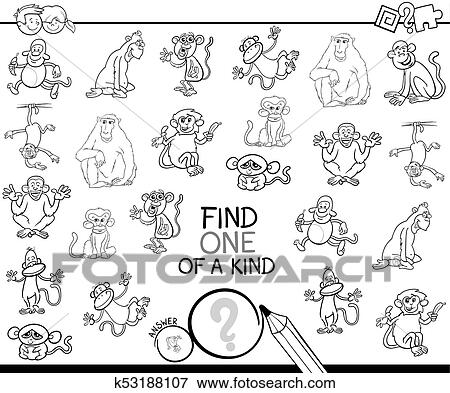 One of a kind game with monkey color book Clip Art   k53188107 ...