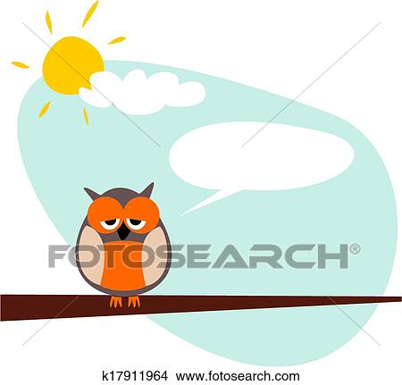 clipart of sleepy talking vector owl banner k17911964 search clip rh fotosearch com Owl Clip Art Black and White Silhouette Owl Clip Art