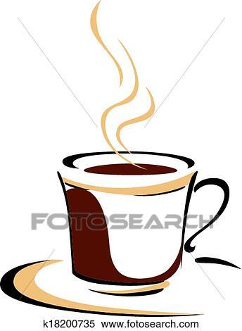Dessin Tasse De Café Fumant clipart - tasse fumante, de, aromatique, café k18200735 - recherchez
