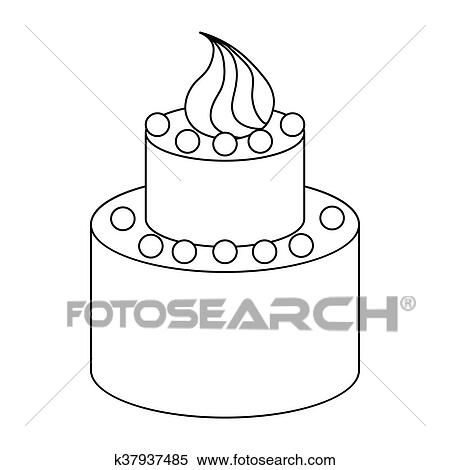 Superb Two Tier Birthday Cake Icon Outline Style Clipart K37937485 Birthday Cards Printable Trancafe Filternl