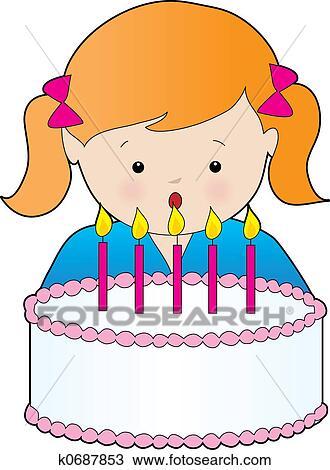 Tekening Verjaardag Girl K0687853 Zoek Clipart Illustratie