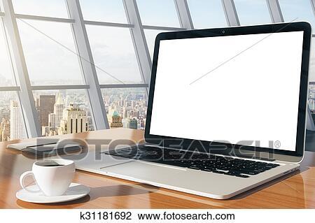 Vide ordinateur portable sur a table bois dans a moderne