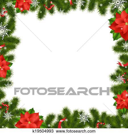 Disegno Cornice Albero Abete Rami Con Stella Di Natale