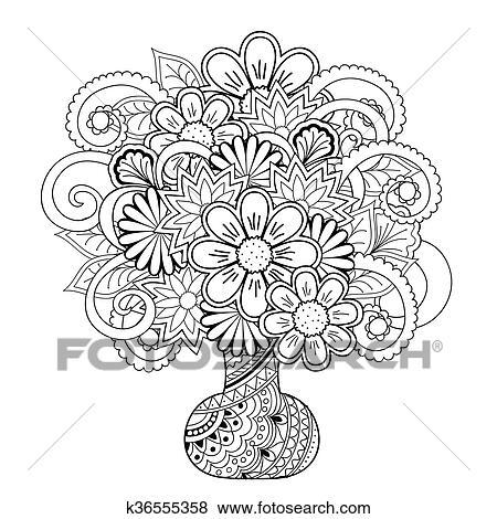 Clip Art - florero, con, garabato, flores k36555358 - Buscar Clip ...