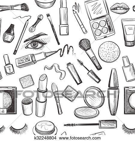 Glamorous Make Up Seamless Pattern Clipart
