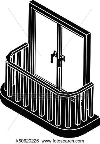 Clip Art Modernes Balkon Symbol Einfache Stil K50620226