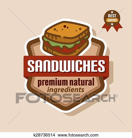 Sanduiches Etiqueta Clipart K28736514 Fotosearch