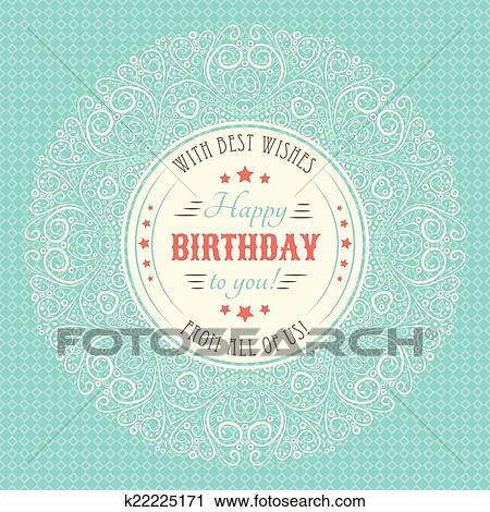 Clipart Of Vintage Happy Birthday Card Typography Letters Font Type