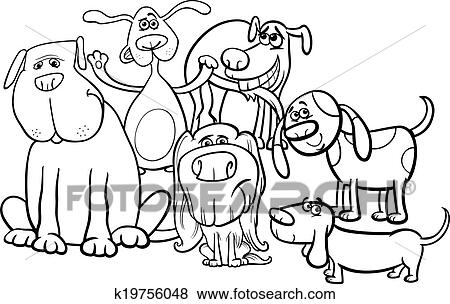 Black And White Cartoon Illustration Of Funny Dogs Characters Group For  Coloring Book