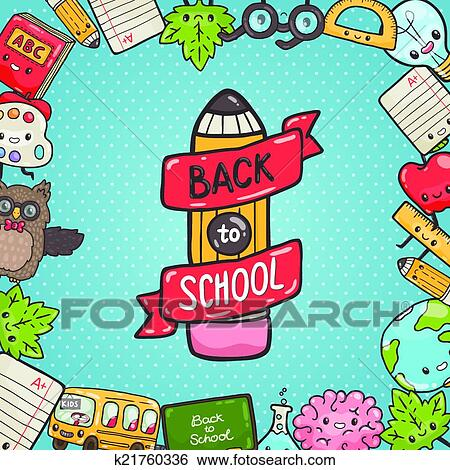 Cute Cartoon Characters Back To School Background Clip Art K21760336 Fotosearch