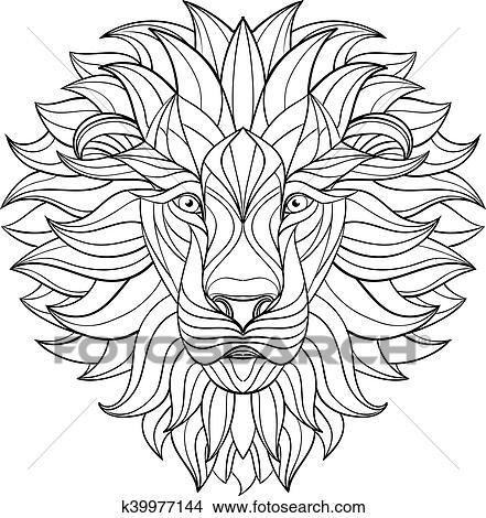 Clipart - detallado, león, en, azteca, style., modelado, cabeza ...