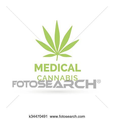 Clipart Of Medical Cannabis Icon Design With Marijuana Hemp Leaf