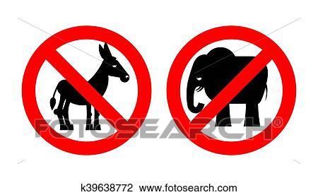 Clipart Of Ban Elephant Stop Donkey Prohibited Symbols Usa