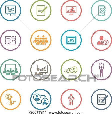 clipart of business coaching icon set k30077811 search clip art