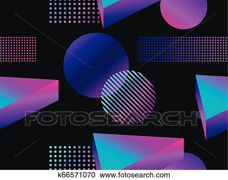 Futuristic seamless pattern with geometric shapes  Gradient with purple  tones  3d isometric shape  Synthwave retro background  Retrowave  Vector