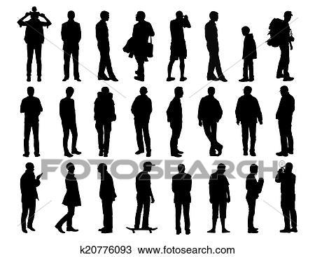 dessin grand ensemble de hommes debout silhouettes. Black Bedroom Furniture Sets. Home Design Ideas