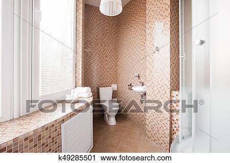 Modernes, luxus, badezimmer, mit, dusche, kabine, und ...