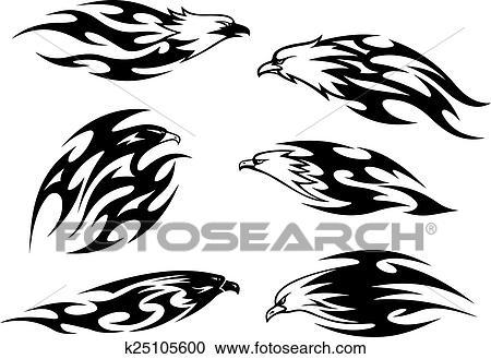 Noir Blanc Voler Aigles Tatouages Clipart K25105600 Fotosearch