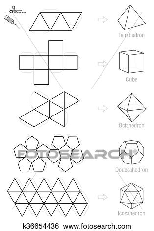 Clip Art of Platonic Solids Craft Pattern k36654436 - Search Clipart ...