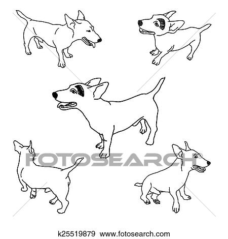 Clip Art Of Set Of Adorable Jack Russell K25519879