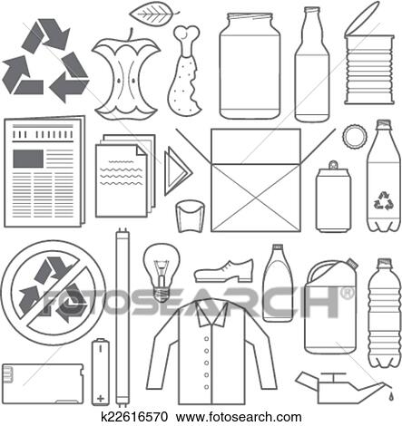 Clipart Of Vector Outline Grey Color Recycling And Various Waste