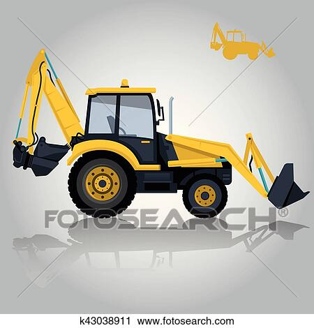 Clipart Of Yellow Big Digger On White Background Construction