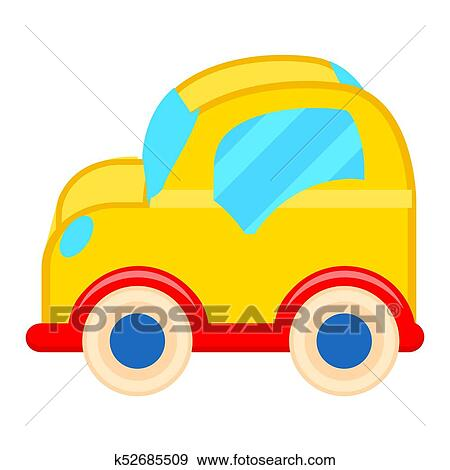 Clip Art Of Yellow Toy Car With White Wheels Illustration K52685509