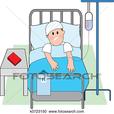 Person in hospital bed clipart