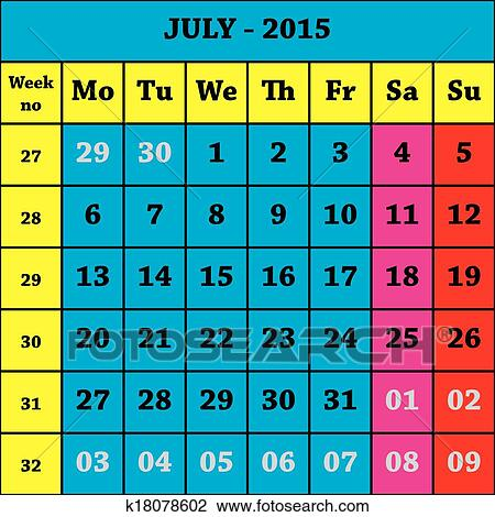 Clipart Of 2015 July Calendar ISO 8601 With Week Number K18078602