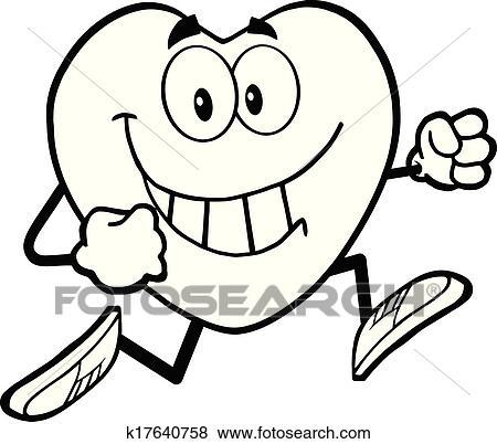 Black And White Heart Running Clip Art   k17640758 ...