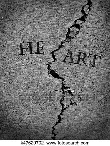 Clip Art Of Broken Heart Lost Love Jilted K47629702 Search Clipart