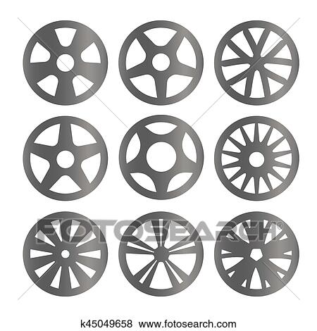 Clip Art Of Isolated Black And White Color Alloy Wheels Logo