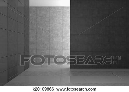 Badkamer Tegels Grijs.Lege Hippe Badkamer Met Grijs Tegels Stock Illustraties