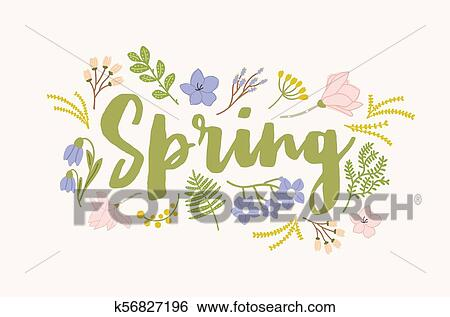 Spring Word Handwritten With Elegant Cursive Calligraphic