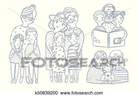 Beau Corps Plein Et Waist Up Portraits De Grands Parents à Petite Fille Et Petit Fils Main Dessiné à Contour Lines Aimer Grand Mère