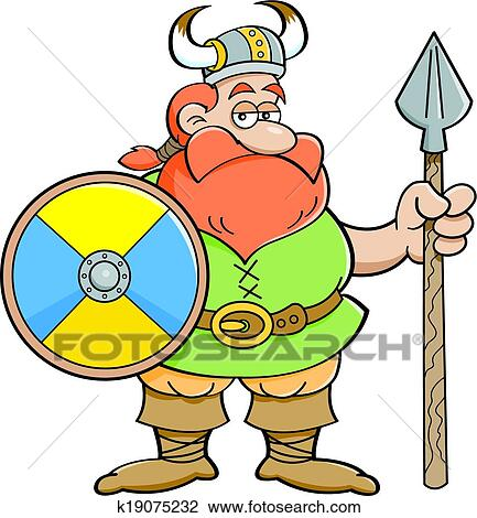 clipart of cartoon viking holding a shield and k19075232 search rh fotosearch com viking clipart helmet viking clipart free