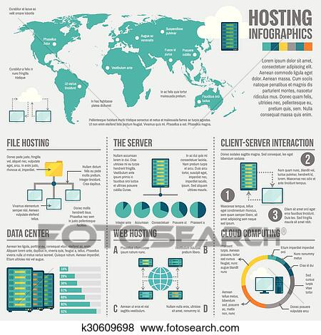 clip art of file hosting worldwide infographic poster k30609698