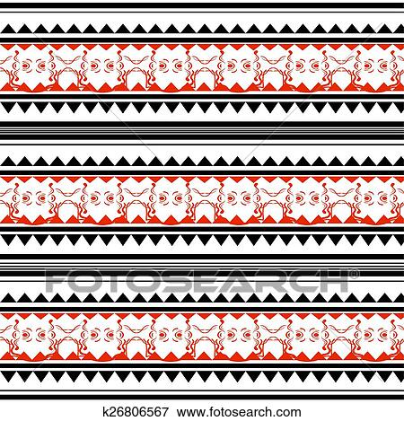 57173dd1c Illustration of red and black polynesian tattoo Clip Art | k26806567 ...