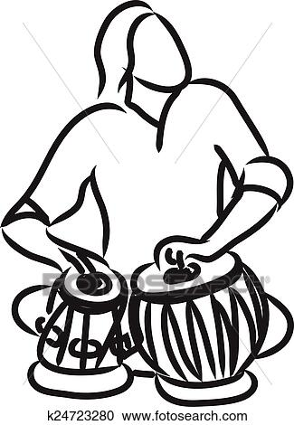 Clipart Of Indian Musician Playing Tabla K24723280