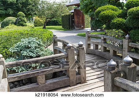 Drawings Of Japanese Garden Wooden Walkway K21918054