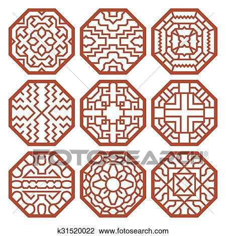 Clipart Of Korean Traditional Vector Patterns Ornaments And Symbols Unique Vector Patterns