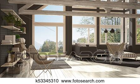Living Room Of Luxury Eco House Parquet Floor And Wooden Roof Trusses Panoramic Window On Summer Spring Meadow Modern White And Gray Interior Design Clipart K53345310 Fotosearch