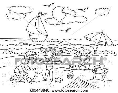 Children swimming at the beach and play with toys illustration