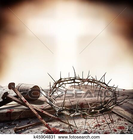 Crucifixión Jesucristo Cruz Con Martillo Sangriento Clavos