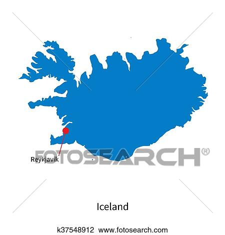Detailed vector map of Iceland and capital city Reykjavik Clipart