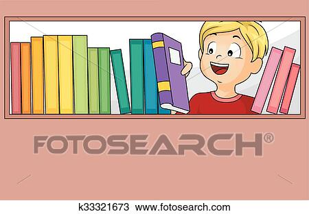 Gosse Garcon Livres Bibliotheque Selection Clipart