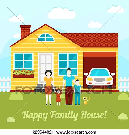 Clipart of happy family house concept illustration for Garage happy car