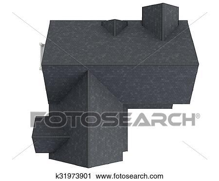 House Tile Roof Top View Clip Art K31973901 Fotosearch