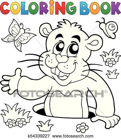 Clip Art - libro colorear, marmota, tema, imagen, 2 k54339227 ...