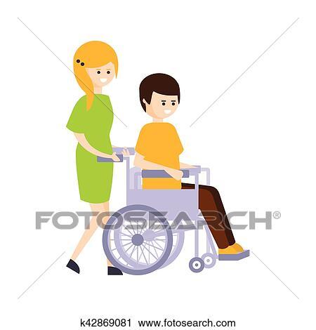 Physiquement Handicapé Personne Vivant Entiers Heureux Vie à Incapacité Illustration à Fille Souriante Rouler A Type Dans Fauteuil